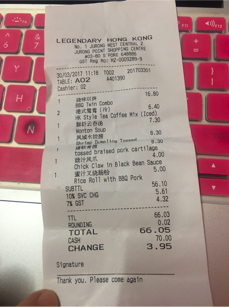 Receipt at Legendary Hong Kong